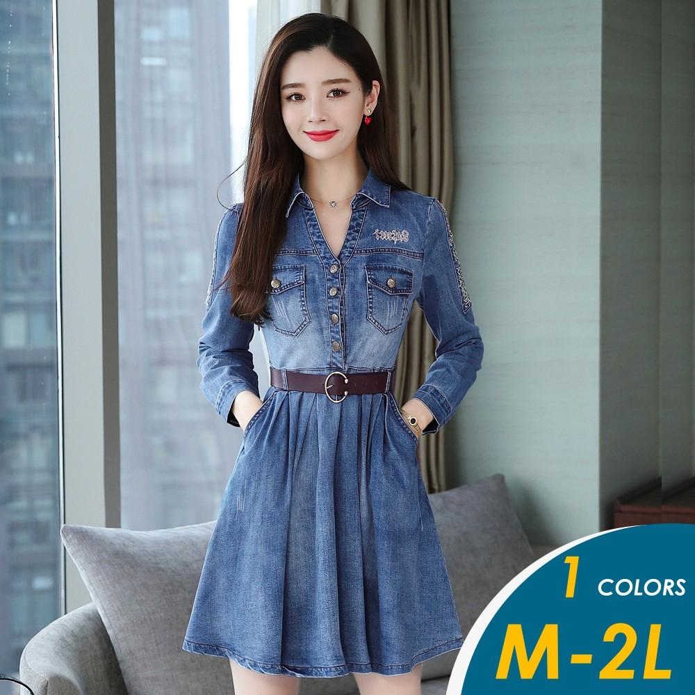 【現貨】韓系字母圖騰收腰顯瘦長袖牛仔連身裙#707【俏可】