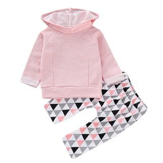 嬰兒女嬰男孩純色連帽運動衫上衣幾何褲套裝