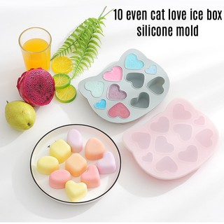 10 even cat love ice box silicone mold 10連貓咪愛心冰塊盒 矽膠模 臺南市