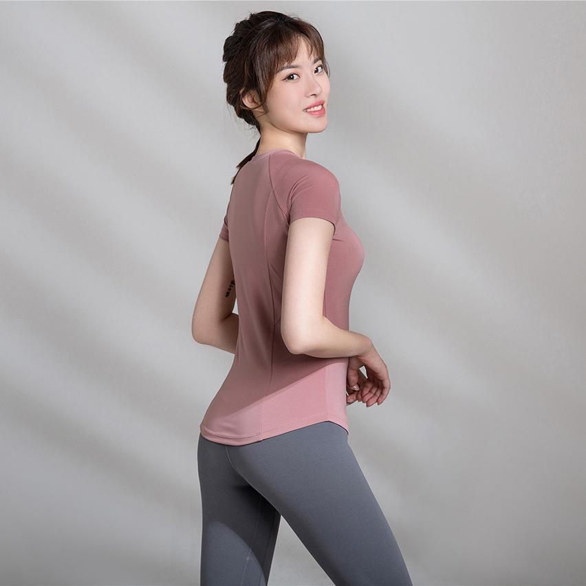 2020春新款瑜伽服女士跑步運動健身 顯瘦緊身運動速幹上衣短袖T恤