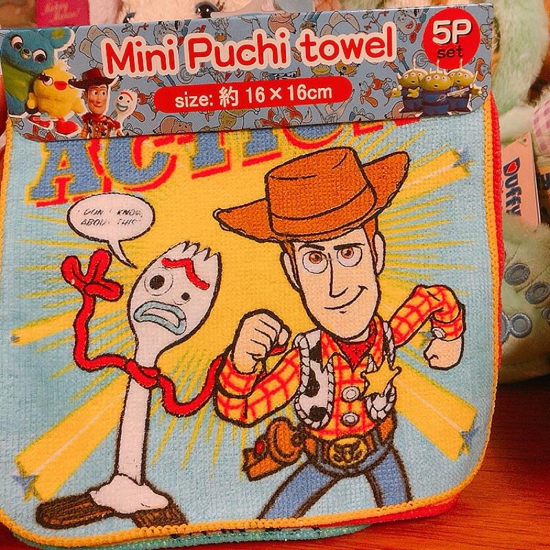 日本迪士尼 皮克斯 玩具總動員 手帕 小方巾 胡迪 叉奇 三眼怪 三眼仔 巴斯光年 牧羊女 寶貝 鴨霸 兔哥 方巾五入組