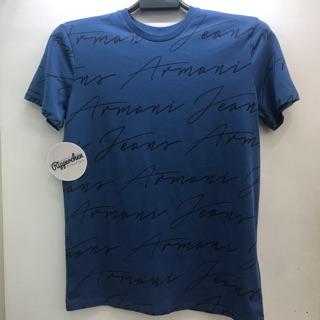 Armani jeans 藍色酒紅兩色 滿版 文字 Logo 圖案 圓領T恤 全新正品