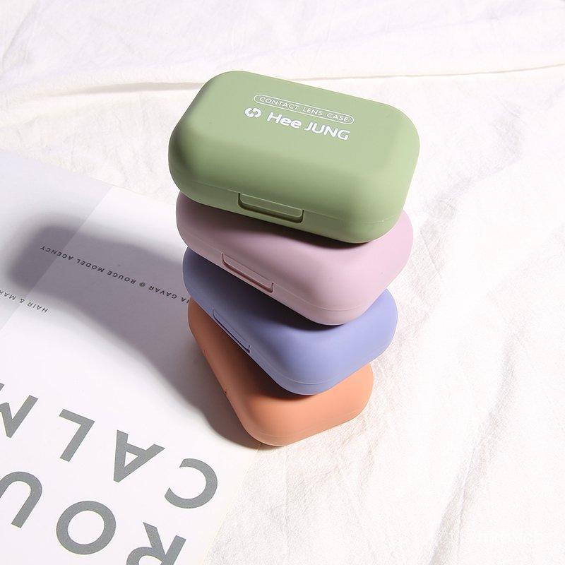 隱形眼鏡盒 隱形眼鏡清潔 眼鏡清洗 隱形眼鏡水盒 隱形眼鏡盒子簡約磨砂隱形眼鏡盒便攜ins近視美瞳盒小巧個性可愛