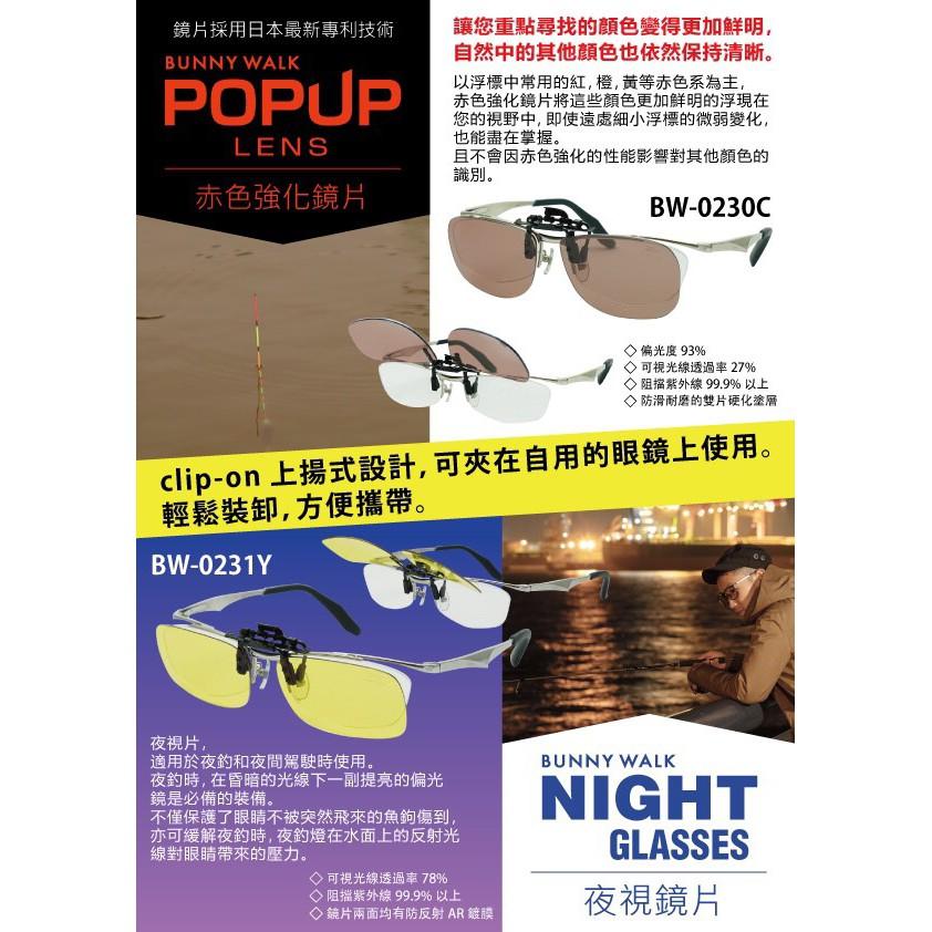 中壢鴻海釣具《ZEAL》BW-0230C 眼鏡夾式偏光鏡 #赤色強調 BW-0231Y 眼鏡夾式偏光鏡#夜視鏡片