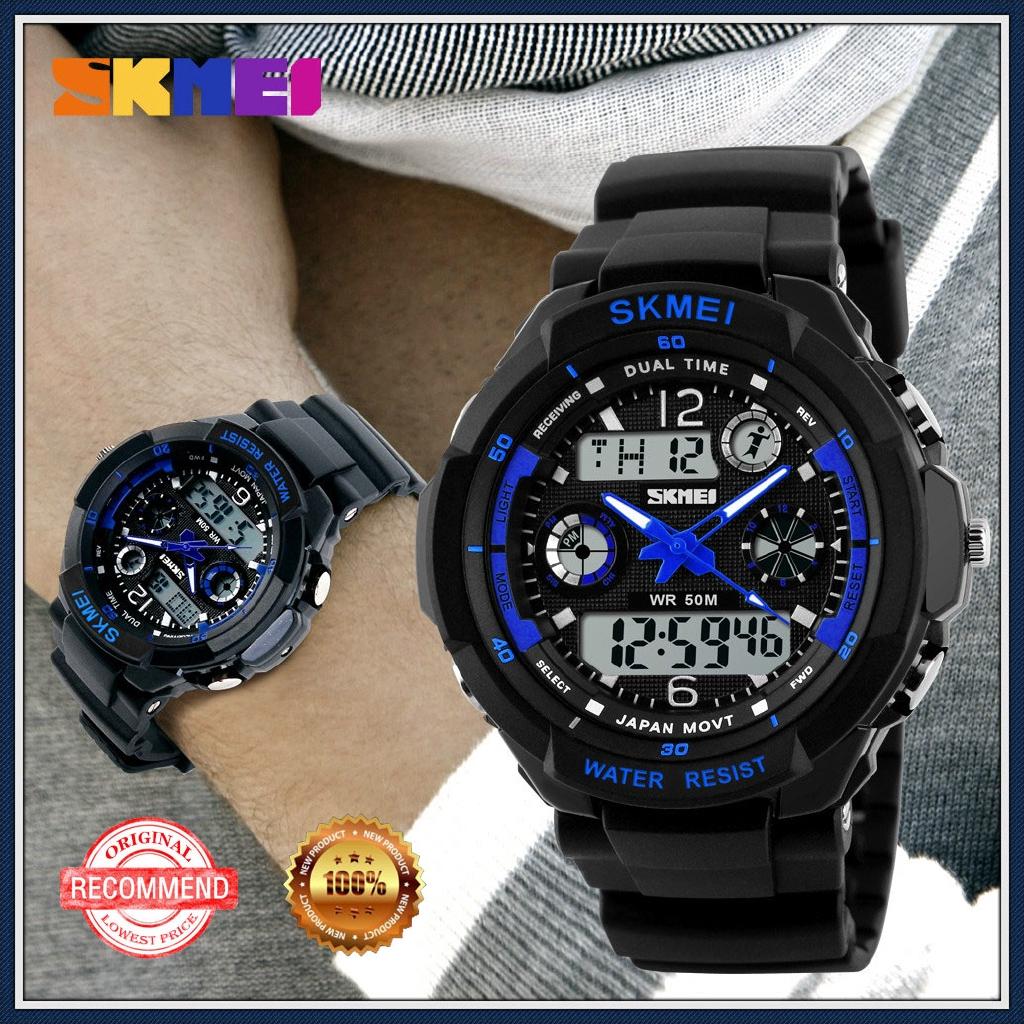 原創Skime戶外運動手錶男士登山防水電子表學生雙顯手錶流行於東南亞