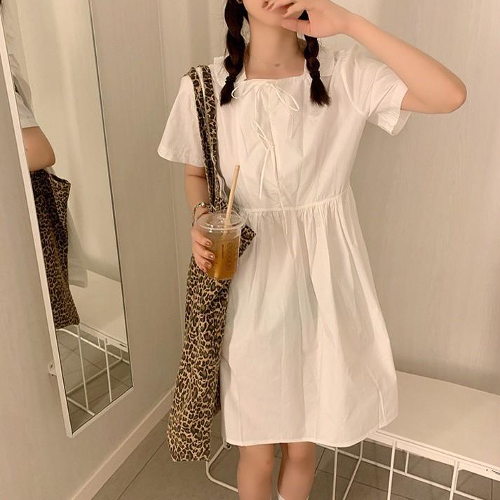 44154  新款純色甜美方領短袖連衣裙洋裝