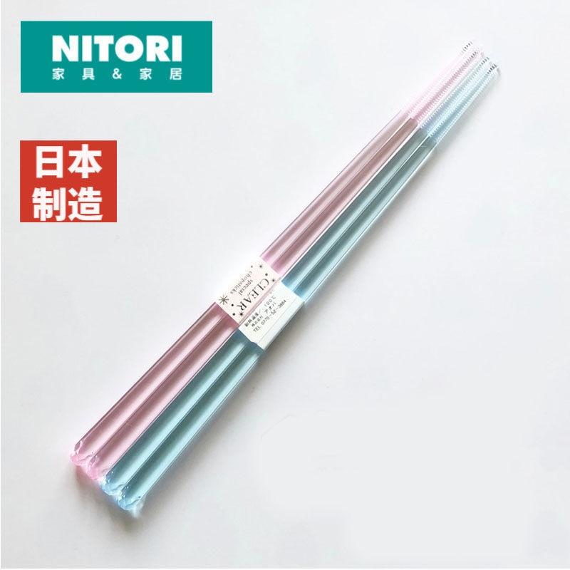 尼達利日本制高檔筷子透明水晶筷子防霉耐熱防滑彩色2雙情侶裝