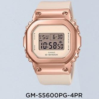 台灣發貨 CASIO卡西歐手表男女學生表復古金屬表殼小方塊GM-S5600PG-1 純黑5600電子錶考試錶
