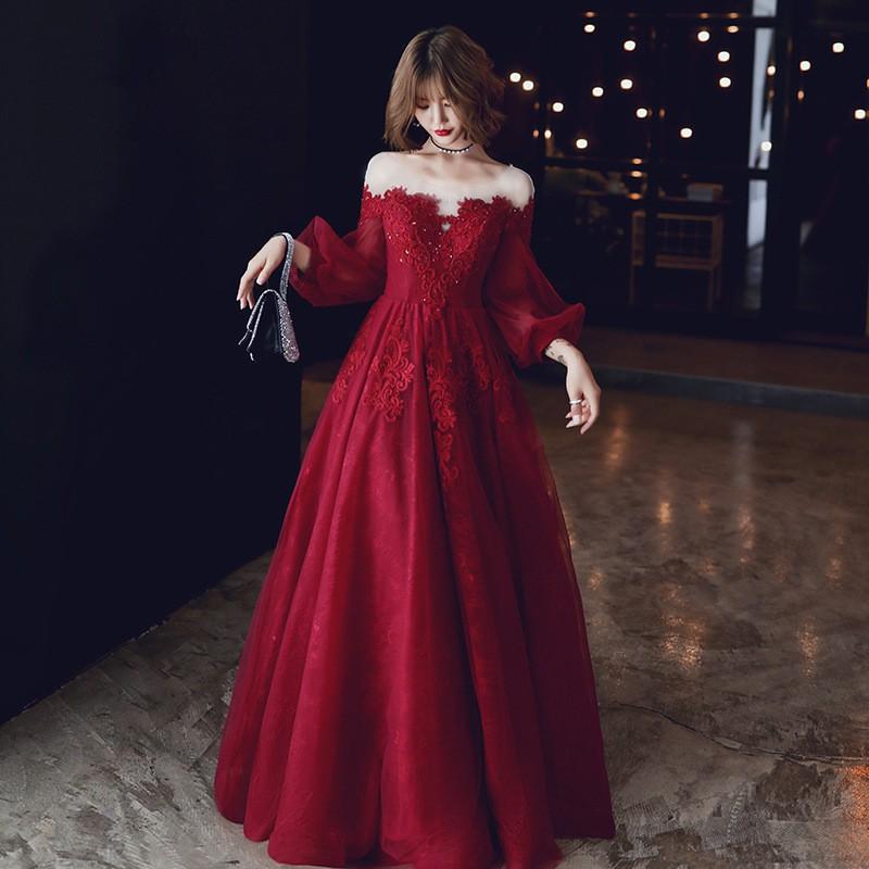 可訂製🔥酒紅色 圓領 一字領 孕婦可穿 小禮服 畢業 禮服 裙 晚禮服 晚宴服 宴會服 長禮服 表演服 洋裝