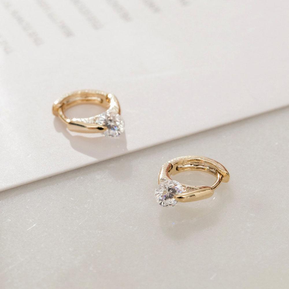 DUIDUI 銀針|簡約單鑽圈型扣耳環|金