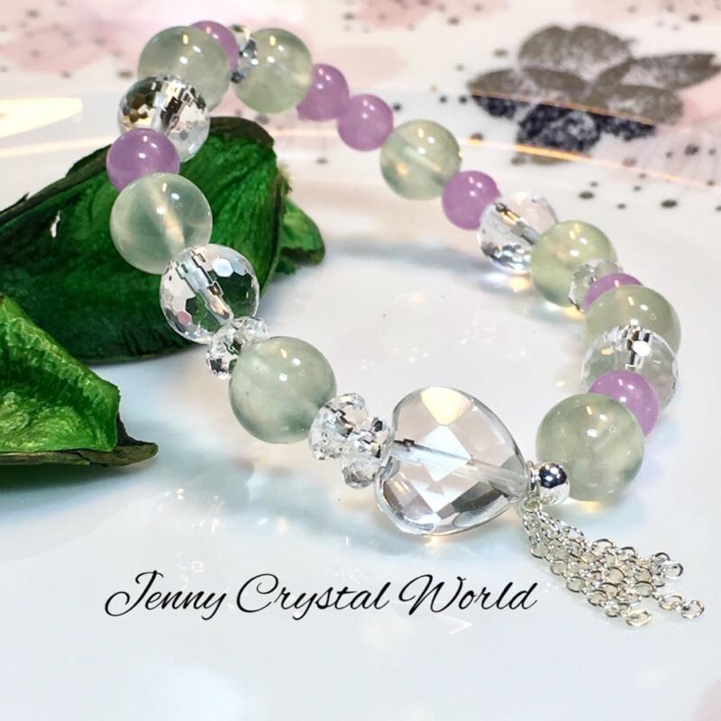 🌷珍妮水晶世界🌷~~《森林之詩》天然葡萄石+白水晶+紫玉髓+純銀 設計手鍊 [J032-C]