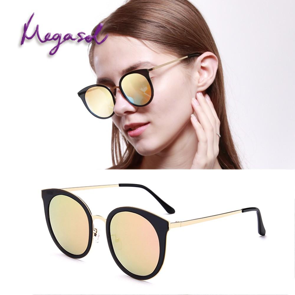 MEGASOL UV400防眩偏光太陽眼鏡時尚貓眼墨鏡(時尚流行貓眼圓框鏡架1629多色選) 廠商直送