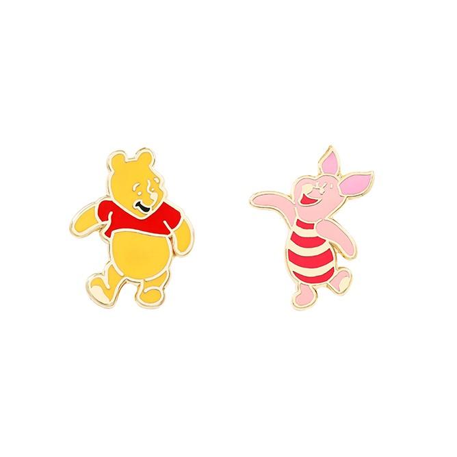 【小熊維尼】跳舞維尼與小豬 針式貼耳