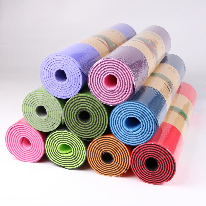 tpe雙色6mm瑜伽墊地墊健身墊無味雙麵防滑瑜伽用品