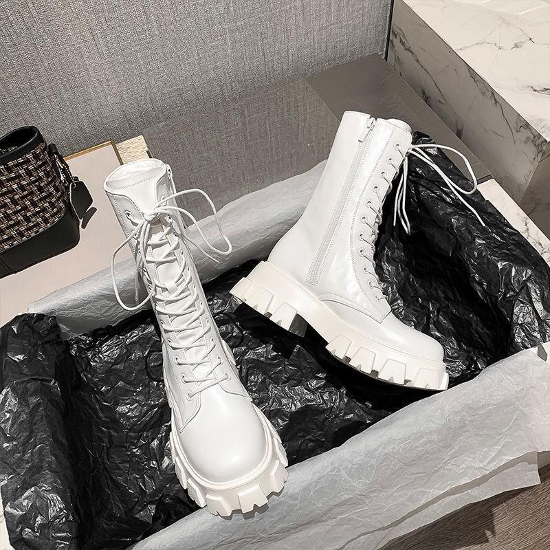 爆款現貨 馬丁靴女潮ins酷2020秋季新款厚底中筒靴瘦瘦白色短靴增高