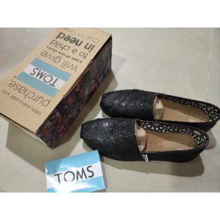 Toms 正版 經典亮片 黑色 懶人鞋 女生 7號
