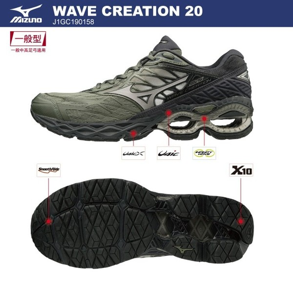 [ROSE] Mizuno WAVE CREATION 20 男鞋 慢跑 J1GC190158 特價3180 19/06