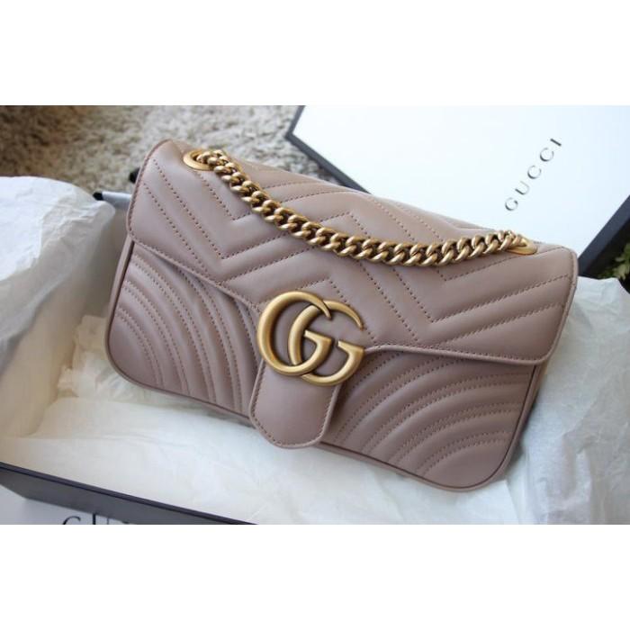 二手正品Gucci Marmont GG small 26cm 歐洲限量 奶茶裸色 肩背包 mini 黑色 443497