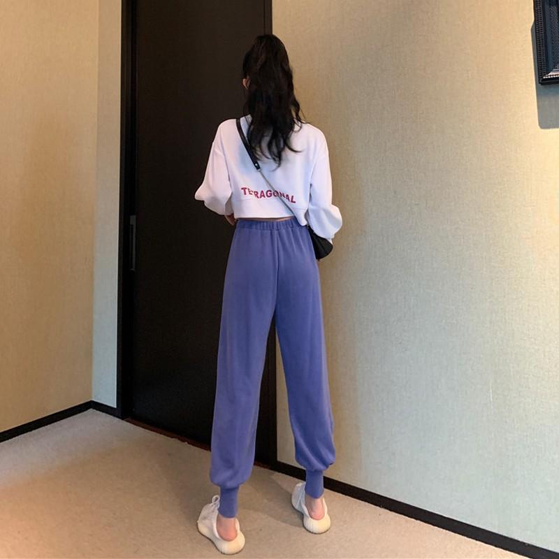 #秋季韓版2020新款短款寬松小個子運動休閑減齡長袖衛衣女時尚套裝