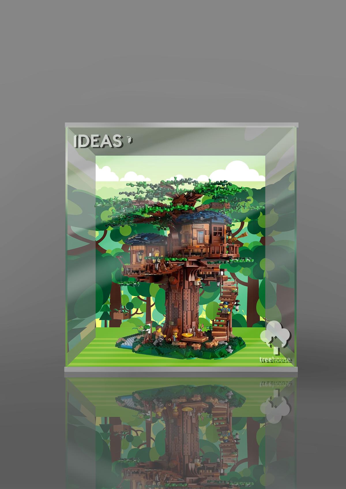 移不動樂高 21318 樹屋 idea系列 專用 亞克力 led 展示盒