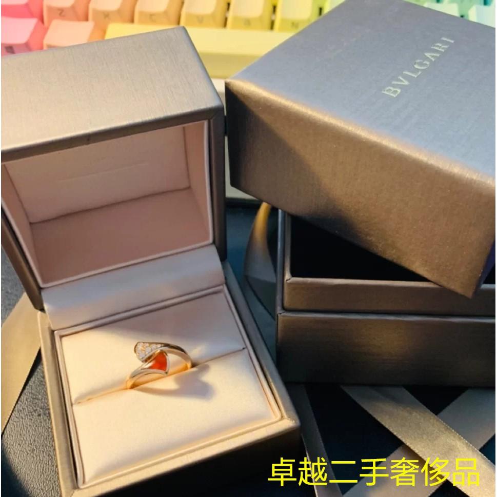 二手正品 BVLGARI(寶格麗) DIVAS' DREAM系列18K玫瑰金戒指,鑲嵌紅玉髓 586AN845 現貨