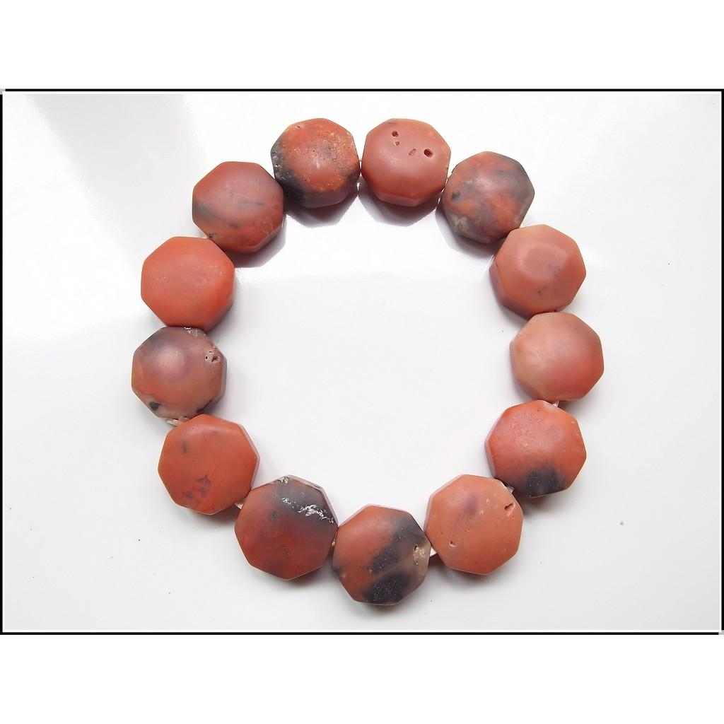 早期收藏 西藏老紅玉髓八卦手鍊