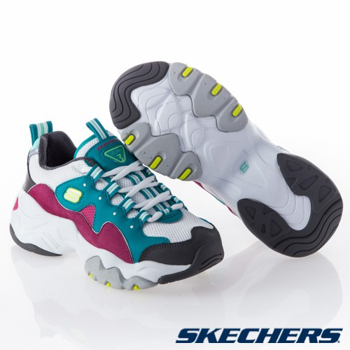公司貨 現貨 Skechers 老爹鞋 D Lites 3.0 復古 女鞋增高3公分 白綠紫 12955TQPK