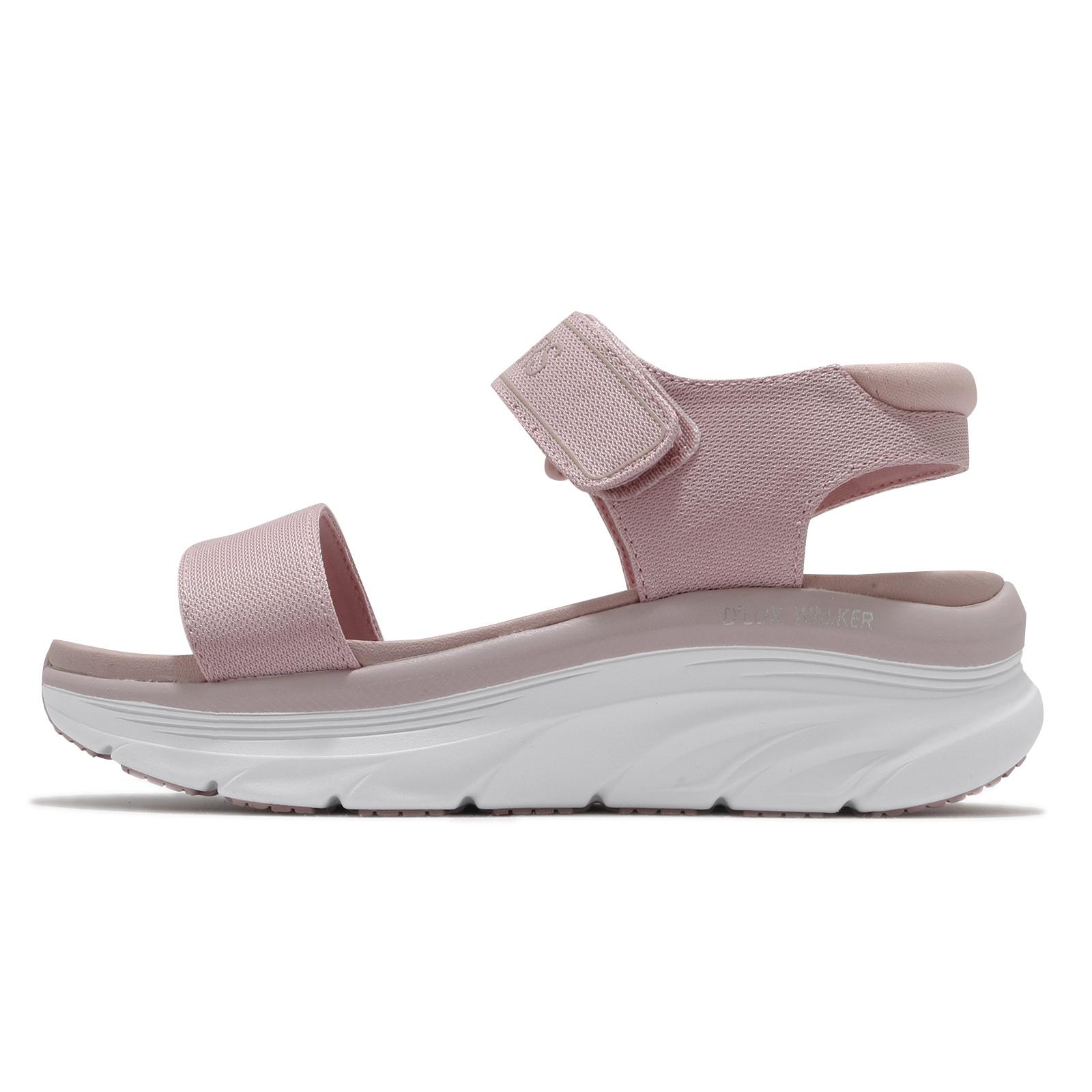 Skechers 涼鞋 D Lux Walker 女鞋 粉 白 魔鬼氈 厚底 增高【ACS】 119226-BLSH