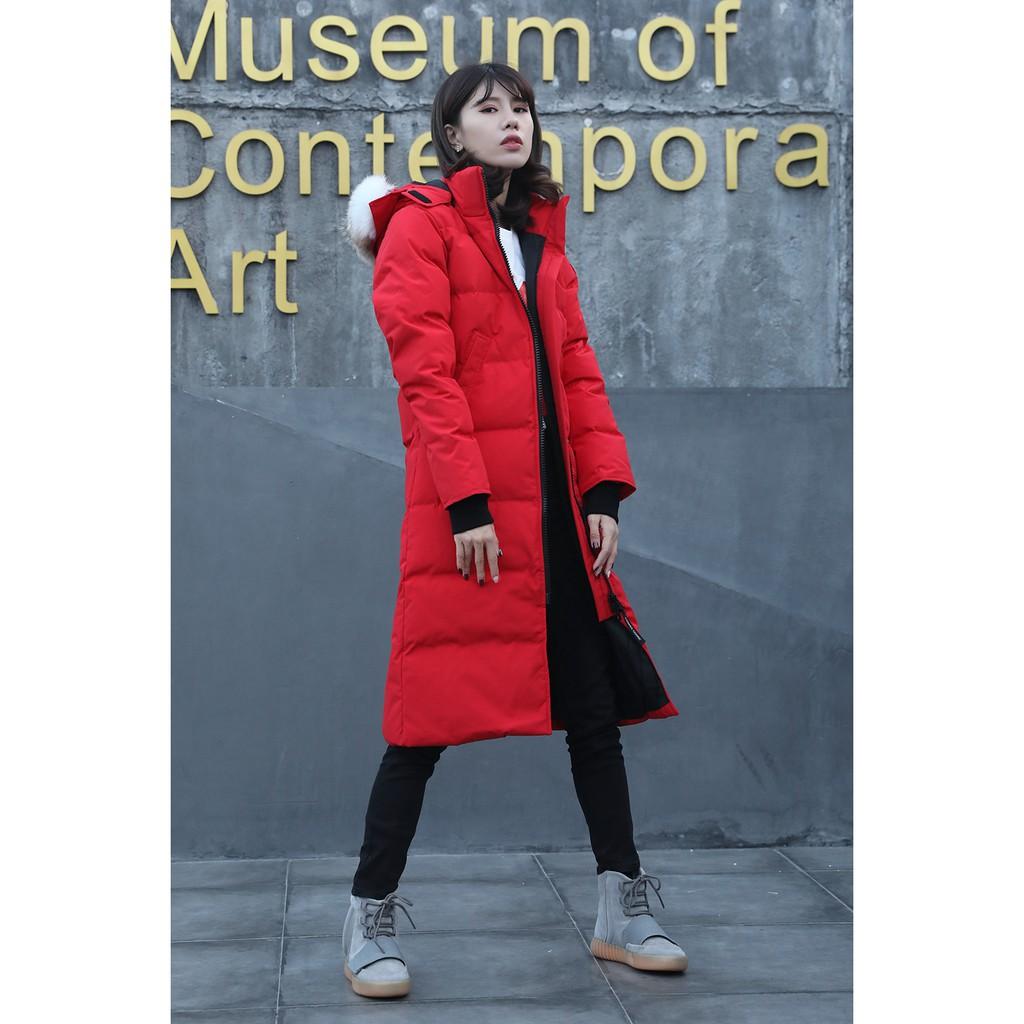 加拿大代購 CANADA GOOSE 加拿大鵝 女款修身超長版  羽絨外套 保暖外套 加厚外套 抗寒﹣40℃ 大紅色