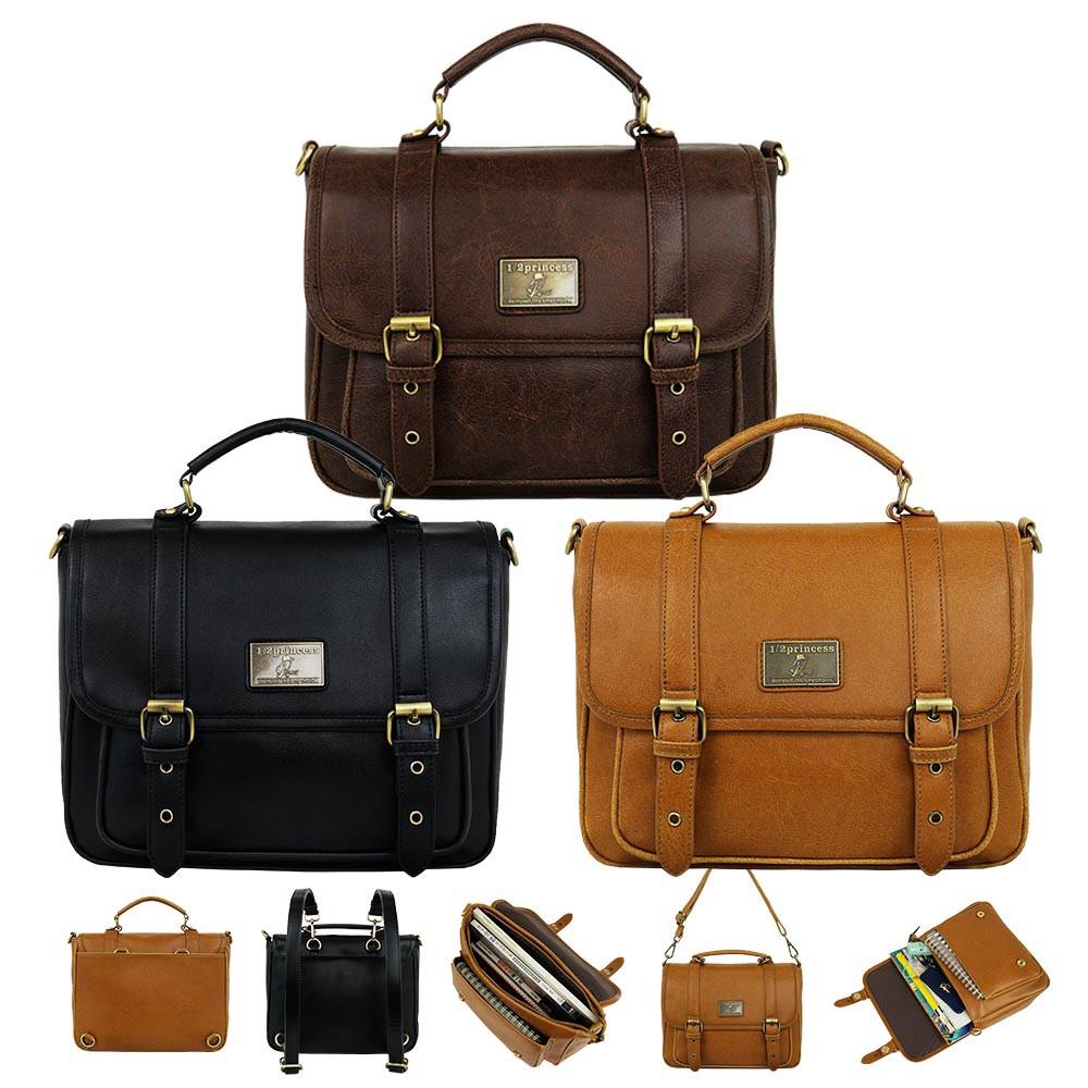 1/2princess升級版復古皮革雙扣三用背包-3色[A2685] 廠商直送 現貨