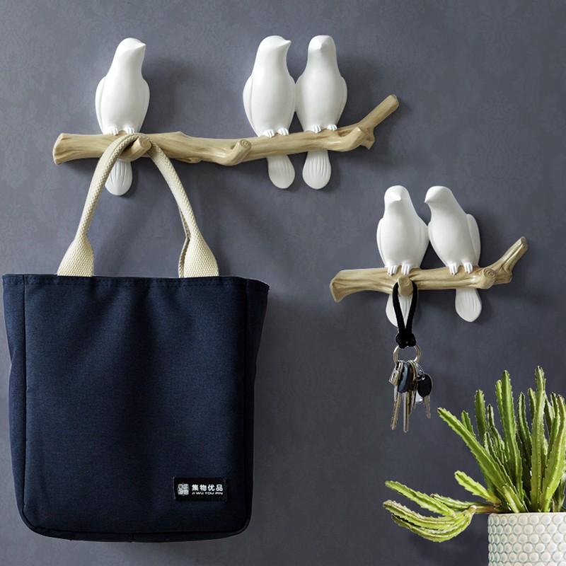 新款秒殺 美式小鳥掛鉤衣鉤北歐動物壁飾墻上衣帽架排鉤客廳墻面裝飾鑰匙架