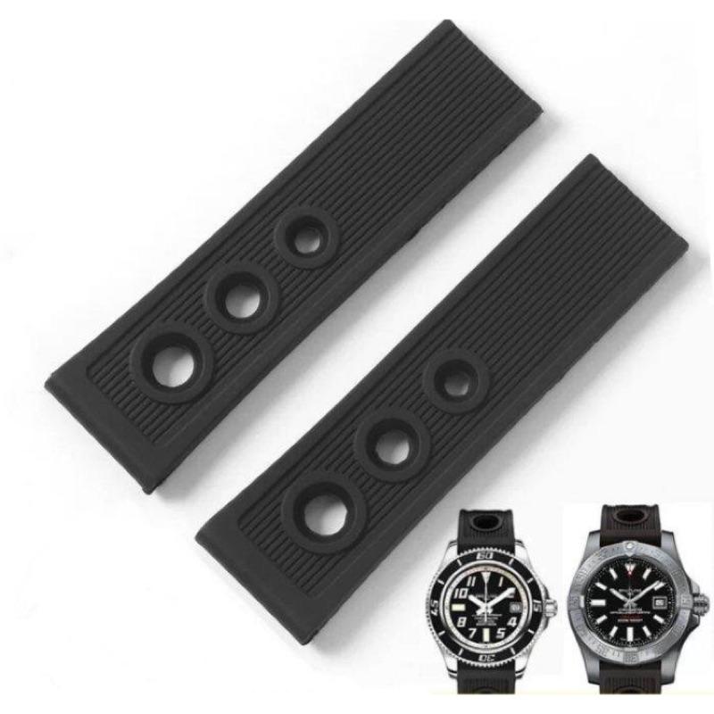 【錶帶城】『品質嚴選』代用百年靈 BREITLING 海洋系列復仇者22mm黑色矽膠防水不鏽鋼單折扣通用各款同尺寸手錶帶