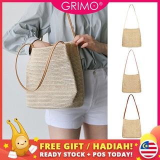 grimo Caso草編手袋Beg Tangan Wanita旅行手提袋女式休閒單肩包斜背包