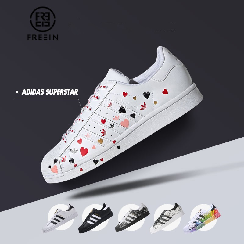 【FREEIN】Adidas SUPERSTAR 愛迪達三葉草貝殼頭 愛心滿天星 情人節 金標 反光塗鴉 潑墨 休閒鞋