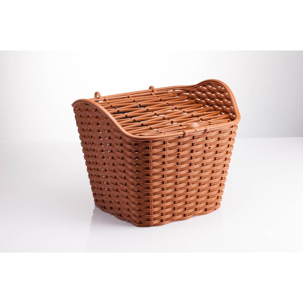 全新 GIANT 捷安特 加大型前置物籃 仿籐造型置物籃 附簡易式上蓋 淑女車 菜籃