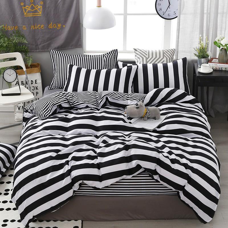 【現貨】床包四件組 雙人/加大雙人床包四件組 單人床包組 被罩被單組床單組薄被套枕頭套枕套被單4件組 黑白條紋 自然風