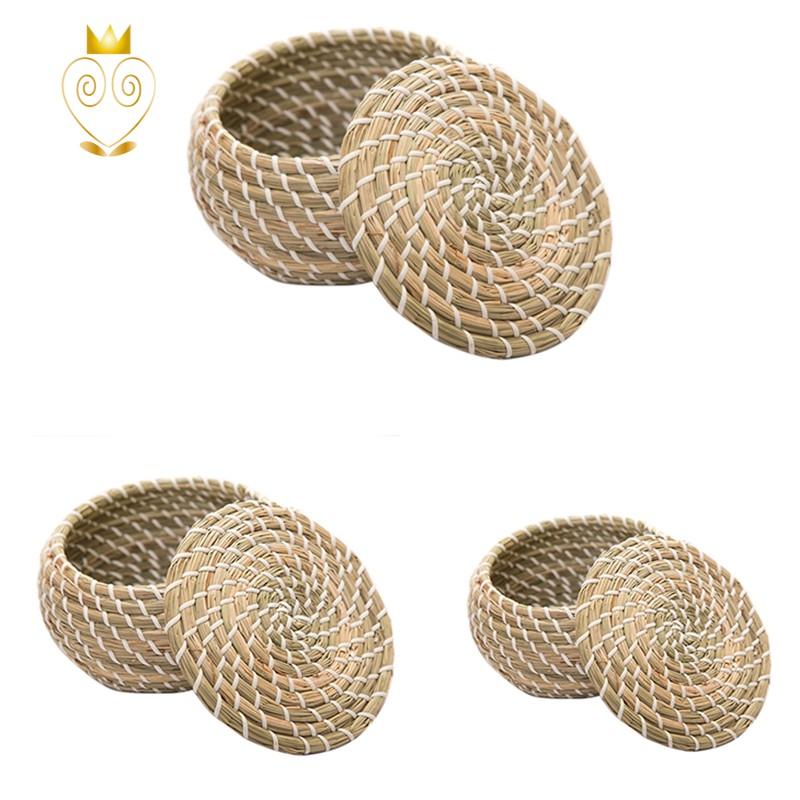 1件草編手編織儲物籃帶蓋家用儲藏室的柳條籃大號