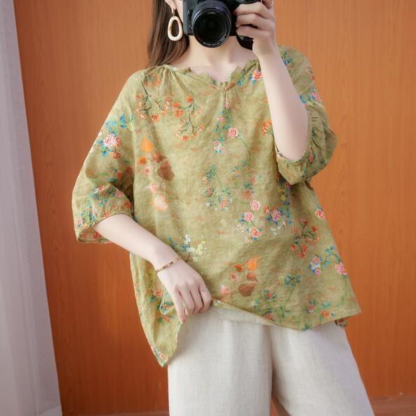 上衣 寬鬆 T卹 百搭 棉麻衫 寬鬆森系大碼時尚百搭寬鬆棉麻碎花上衣N707-8069.愛尚依人