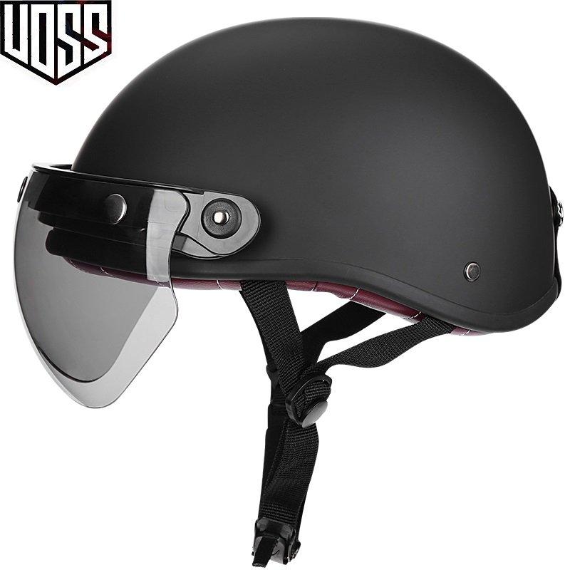 VOSS復古頭盔男女哈雷半盔電動摩托車夏季輕便式安全帽瓢盔小盔體  甜甜