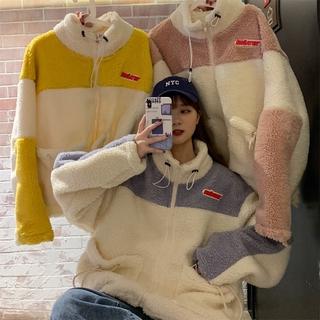 31 材質好實拍羊羔絨外套 毛茸茸可愛開衫立領外套女生潮流時尚韓版ins慵懶風加絨加厚秋冬寬鬆大尺碼外套毛料外套