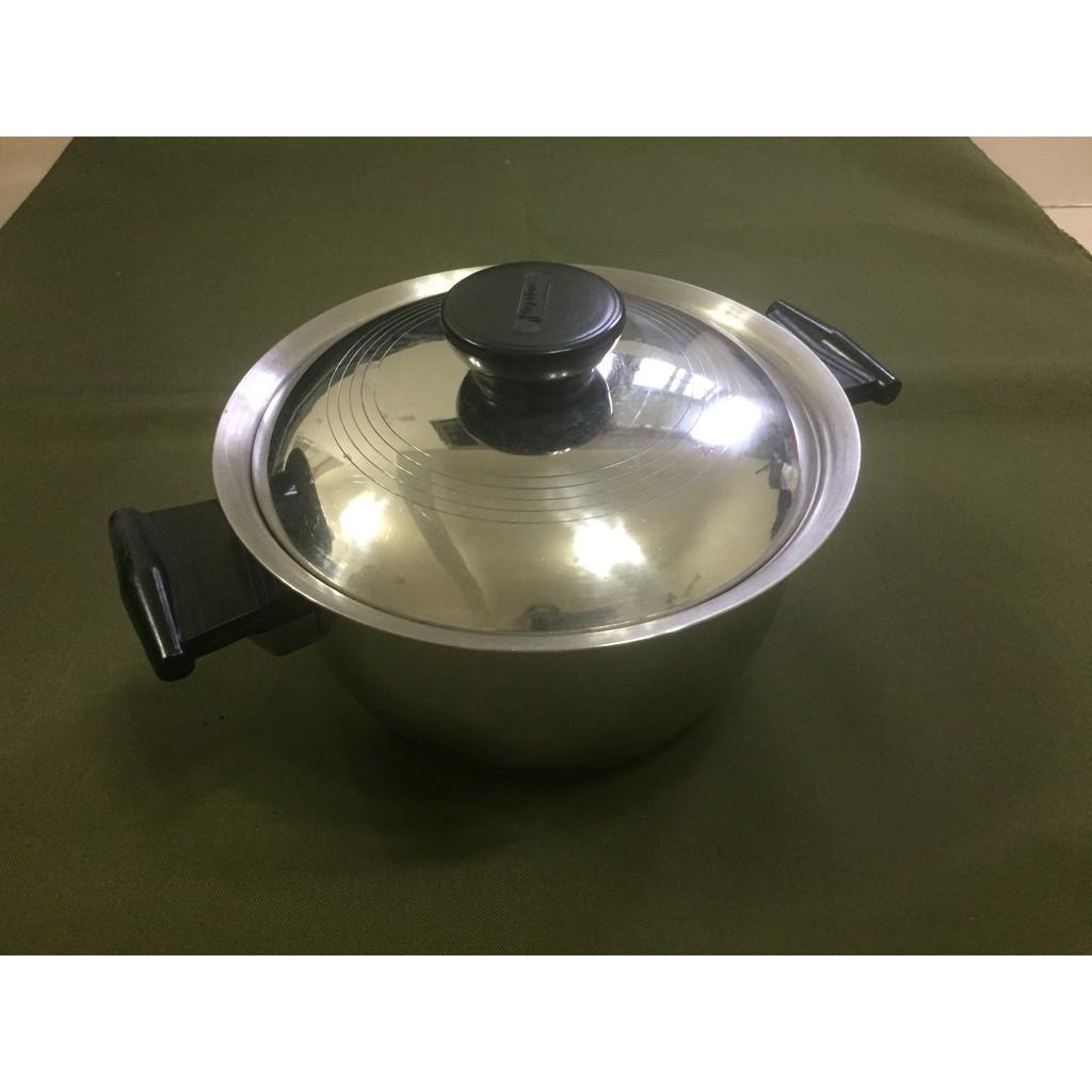 食品級304不鏽鋼雙耳厚底湯鍋附蓋 調理鍋 蒸鍋 二手雙柄湯鍋 野營露營廚具