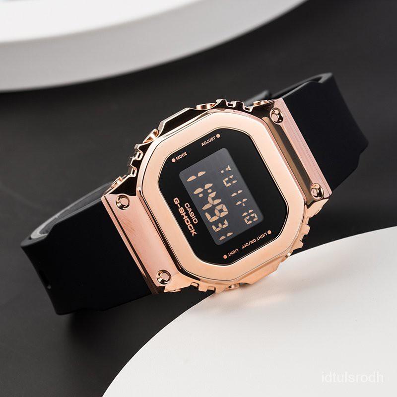 卡西歐G-SHOCK新款復古金屬防水小方塊手錶女GM-S5600PG-1/4 G-7 qXmH