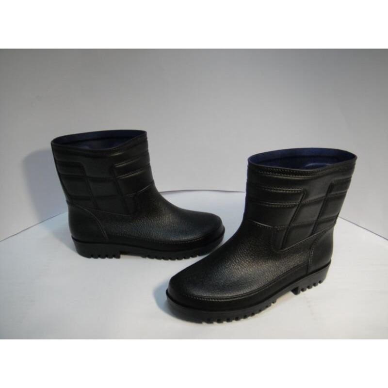 皇力牌休閒雨鞋 黑/男厚底短筒 登山雨鞋-工作止滑雨鞋