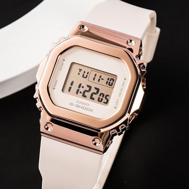 卡西歐G-SHOCK新款復古金屬防水小方塊手錶女GM-S5600PG-1/4 G-7