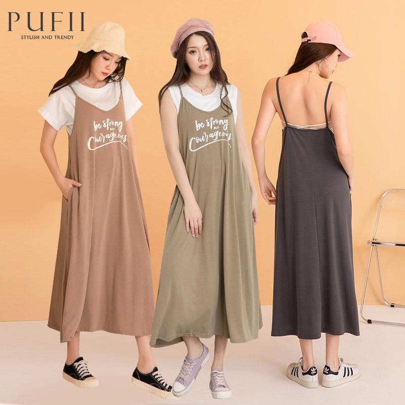 PUFII-洋裝 草寫英字細肩帶長洋裝-0603 現+預 夏【CP20514】