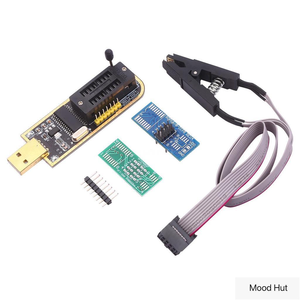 「Mood Hut」CH341A編程器USB BIOS EEPROM 24/25系列燒錄器燒錄器+SOP8 夾(台灣)