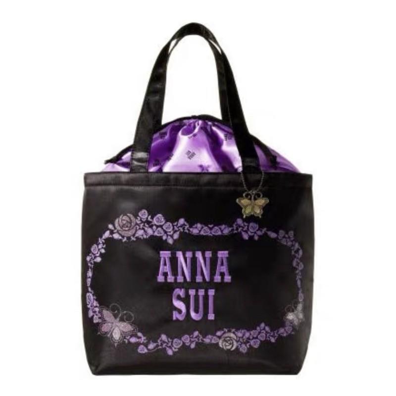 兔子雜貨(現貨) 雜誌附錄安娜蘇Anna Sui15週年紀念經典款刺繡LOGO黑色單肩包束口購物袋(附蝴蝶吊飾)