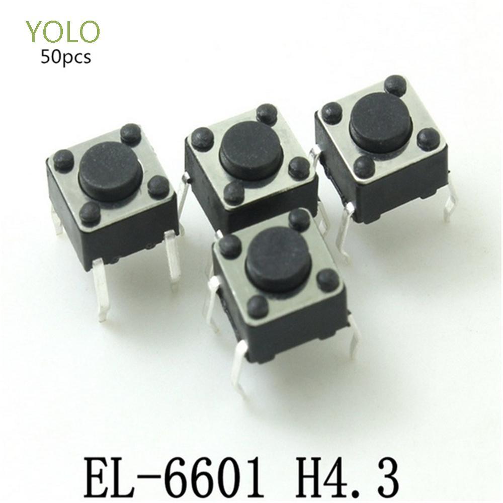 Yolo 50pcs / Lot 按鈕開關 4 針自複位微型開關開關耐用的插件式觸覺 6 * 6 * 4.3mm 按鈕