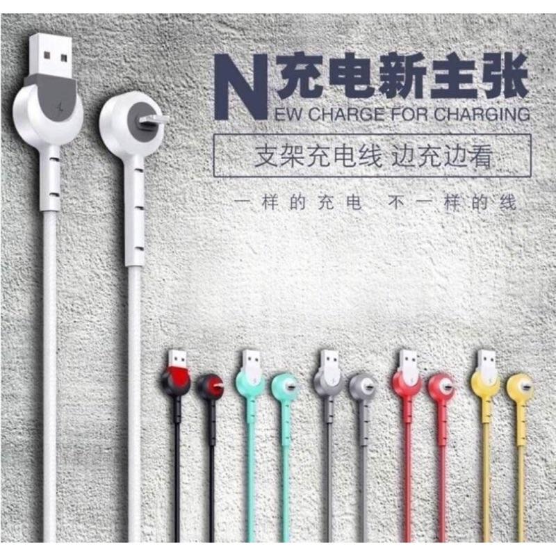 Apple lightning 8pin小丸子充電+支架數據充電線ㄧ條83