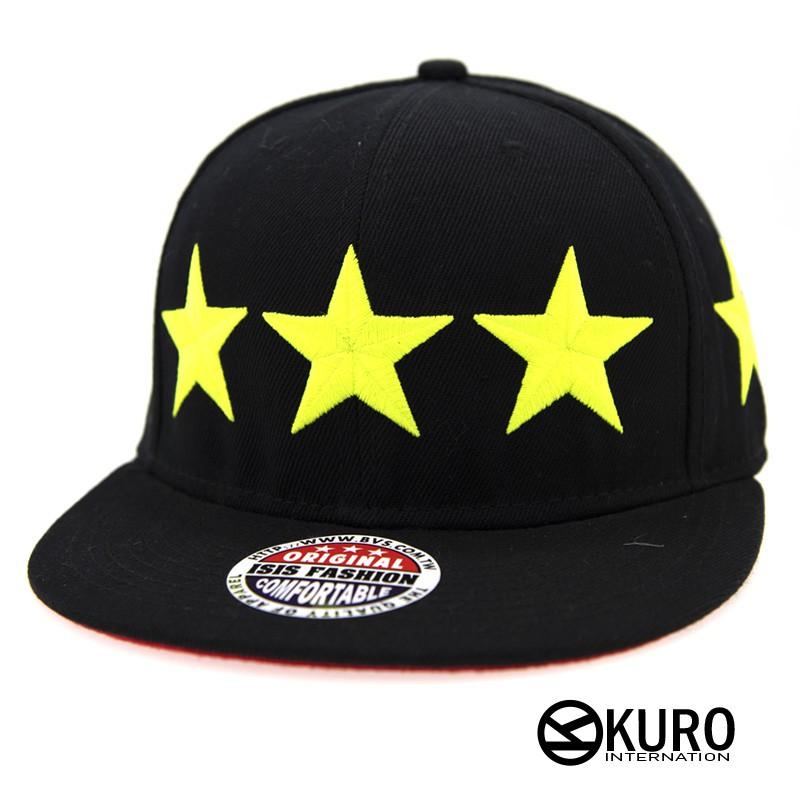 KURO-SHOP潮流新風格-黑色 黑色帽沿 螢光色 七星星 電繡 棒球帽 板帽